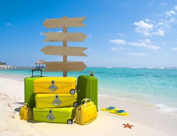 A wooden sign post , a pile of luggage, thongs and starfish on a beach resort